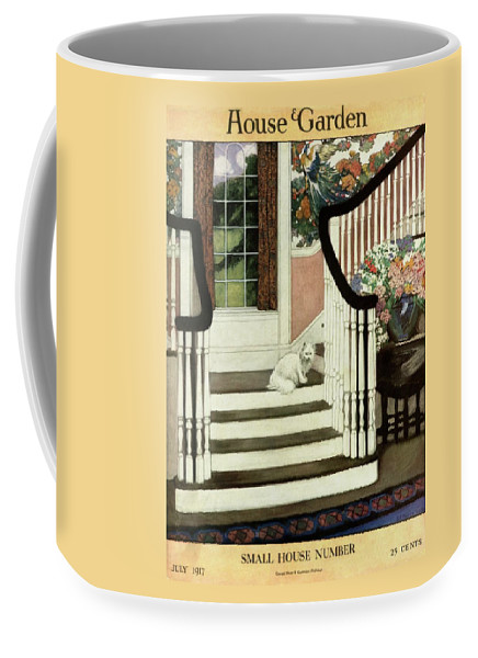 Animal Coffee Mug featuring the photograph A House And Garden Cover Of A Cat On A Staircase by Ethel Franklin Betts Baines