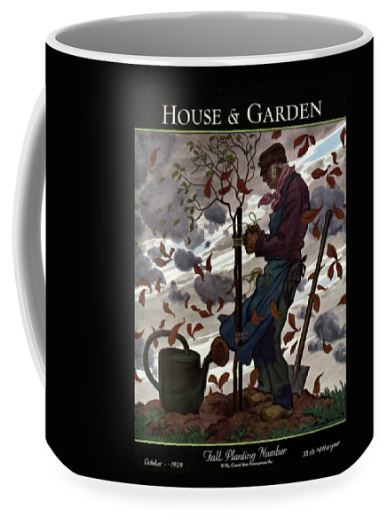 Illustration Coffee Mug featuring the photograph A House And Garden Cover Of A Gardener by Pierre Brissaud