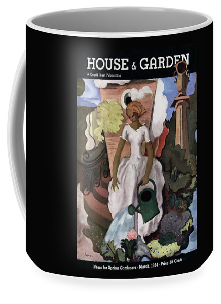 Illustration Coffee Mug featuring the photograph A House And Garden Cover Of A Woman Watering by Georges Lepape
