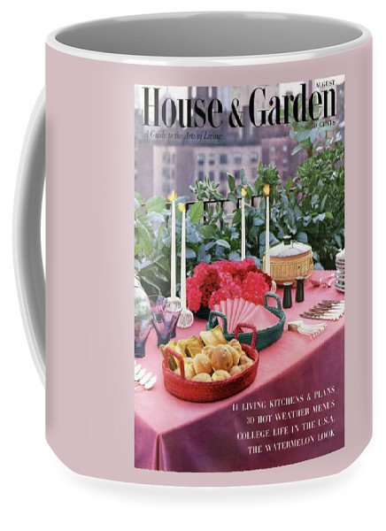 Travel Coffee Mug featuring the photograph A House And Garden Cover Of Al Fresco Dining by Wiliam Grigsby