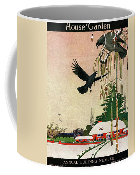 Illustration Coffee Mug featuring the photograph A House And Garden Cover Of Crows By A House by Charles Livingston Bull