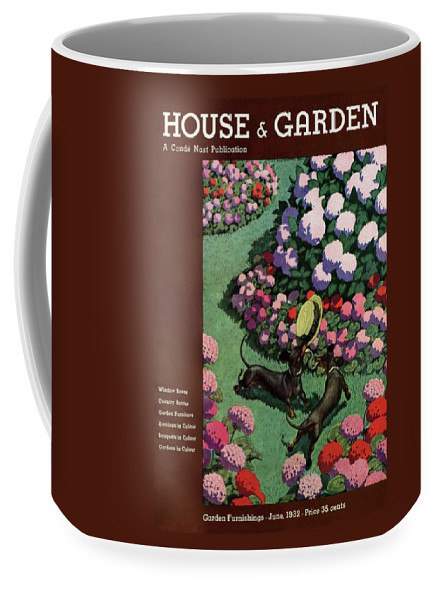 Illustration Coffee Mug featuring the photograph A House And Garden Cover Of Dachshunds With A Hat by Pierre Brissaud