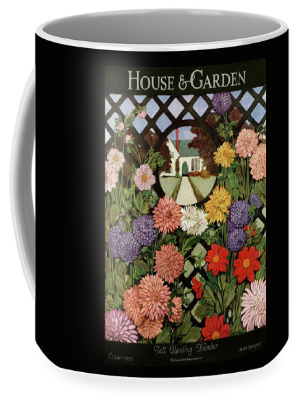 Illustration Coffee Mug featuring the photograph A House And Garden Cover Of Flowers by Ethel Franklin Betts Baines