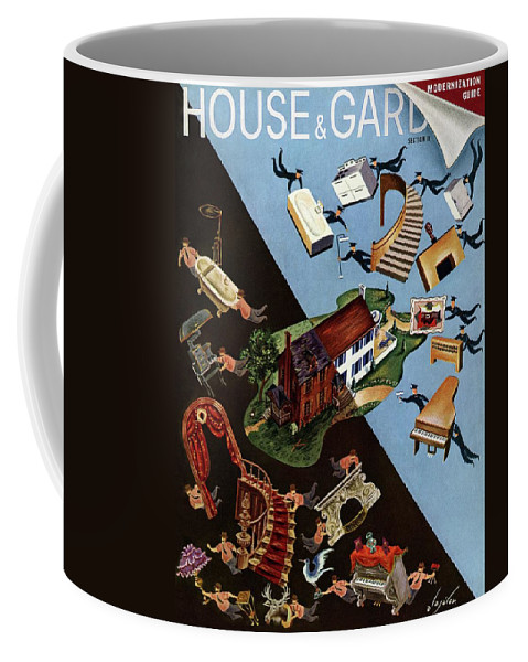 Illustration Coffee Mug featuring the photograph A House And Garden Cover Of People Moving House by Constantin Alajalov