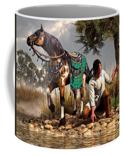Coffee Mug featuring the digital art A Hunter And His Horse by Daniel Eskridge