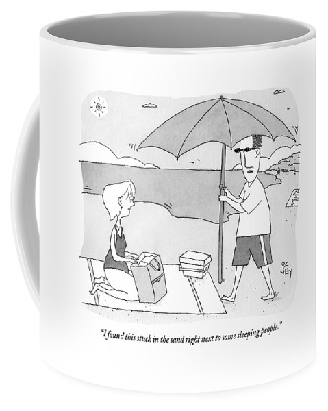 Beach Umbrella Coffee Mug featuring the drawing A Husband Returns To His Wife At The Beach Having by Peter C. Vey