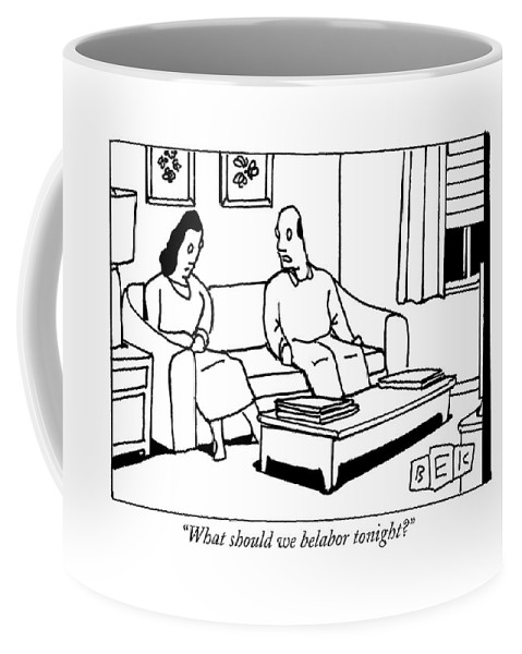 Marriage Coffee Mug featuring the drawing A Husband Talks To His Wife In Their Living Room by Bruce Eric Kaplan