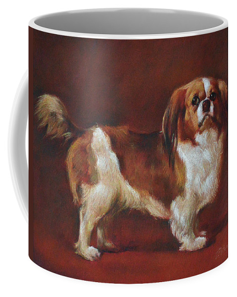 Pastel Coffee Mug featuring the pastel A King Charles Spaniel by Iliyan Bozhanov