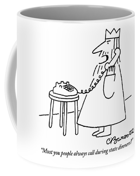 A King Is Seen Answering His Telephone Coffee Mug For Sale By