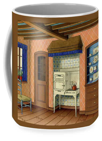 Kitchen Coffee Mug featuring the digital art A Kitchen With An Old Fashioned Oven And Stovetop by Allen Saalburg