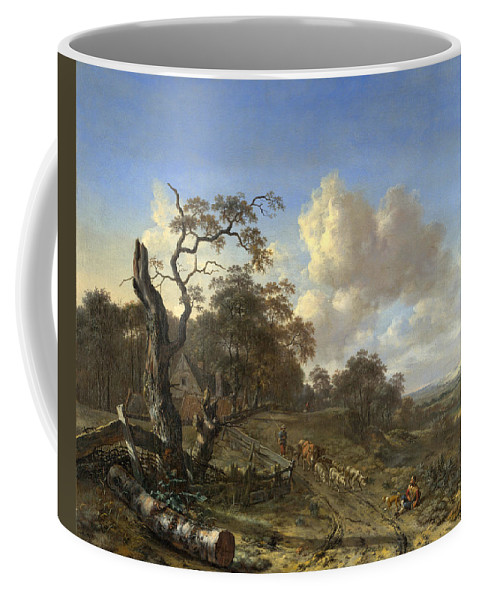 Jan Wijnants Coffee Mug featuring the painting A Landscape With A Dead Tree by Jan Wijnants