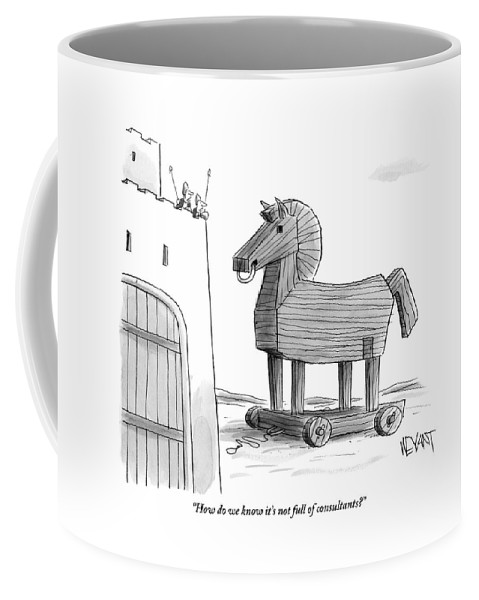 Consultants Coffee Mug featuring the drawing A Large Wooden Horse by Christopher Weyant