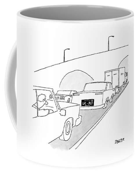 Captionless Coffee Mug featuring the drawing A License Plate That Reads  Lic-plt by Jack Ziegler