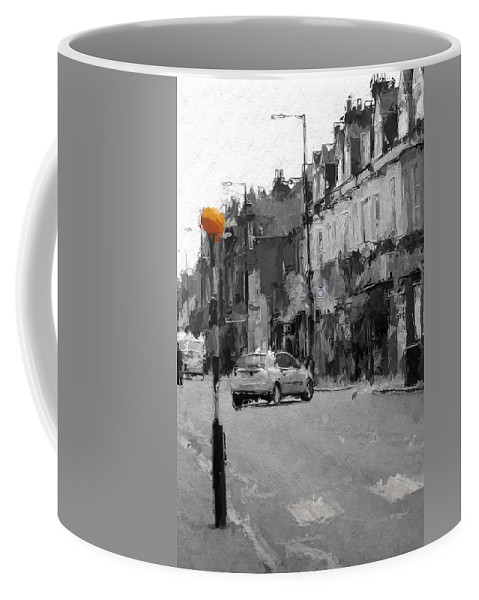 Street Scene City Urban London Car House Lamp Grey Grau Gray Strasse Lampe Licht Coffee Mug featuring the painting A Light On A Grey Day by Steve K