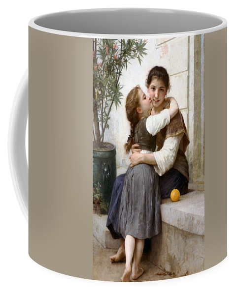 A Little Coaxing Coffee Mug featuring the digital art A Little Coaxing by William Bouguereau