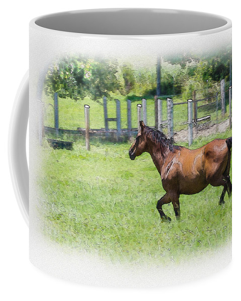 Horse Coffee Mug featuring the photograph A Little Workout by Barry Jones