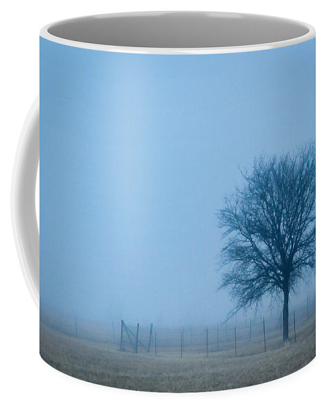 Lone Coffee Mug featuring the photograph A Lone Tree In The Fog by David Perry Lawrence