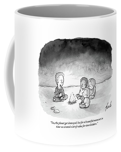 Armageddon Coffee Mug featuring the drawing A Man And 3 Children Sit Around A Fire by Tom Toro