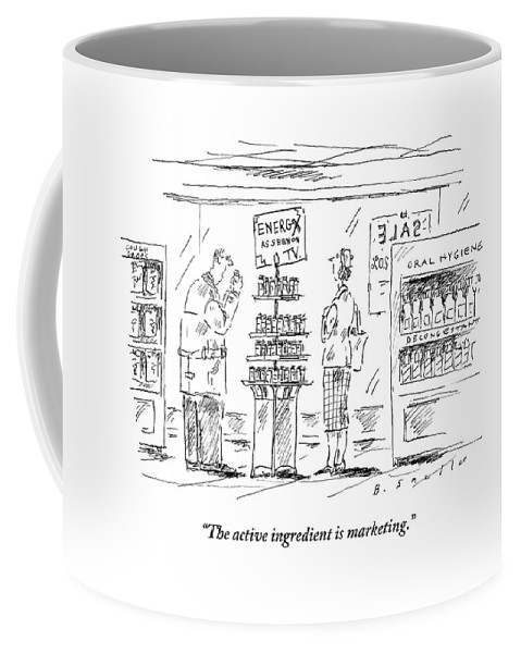 A Man And A Woman Stand At A Store Display That Coffee Mug For Sale Enchanting Coffee Cup Display Stands