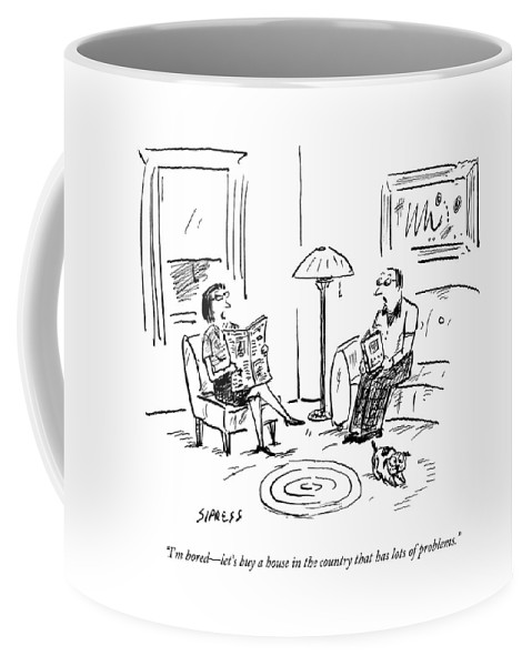 Flip Coffee Mug featuring the drawing A Man And A Woman Talk In Their Living Room by David Sipress