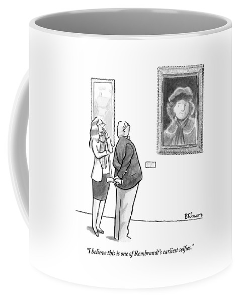 Internet Slang Coffee Mug featuring the drawing A Man And Woman Stand In A Museum Looking by Benjamin Schwartz