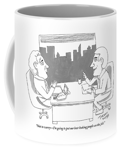 Good Looking Coffee Mug featuring the drawing A Man Behind A Desk Speaks To Another Man In An by Trevor Hoey