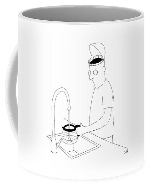 A Man Filling Up His Coffee Pot Coffee Mug