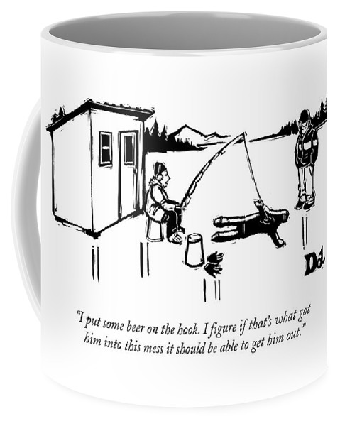 Ice Fishing Coffee Mug featuring the drawing A Man Ice Fishes Through Man-shaped Hole by Drew Dernavich