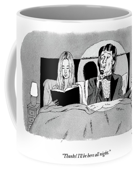 Bedroom Scenes Coffee Mug featuring the drawing A Man In A Performer's Tuxedo Lies In Bed Next by Andy Friedman