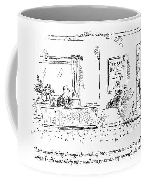 #condenastnewyorkercartoon Coffee Mug featuring the drawing A Man Interviews For A Job by Barbara Smaller