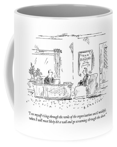 #condenastnewyorkercartoon Coffee Mug featuring the drawing A Man Interviews For A Job by Barbara Smaller