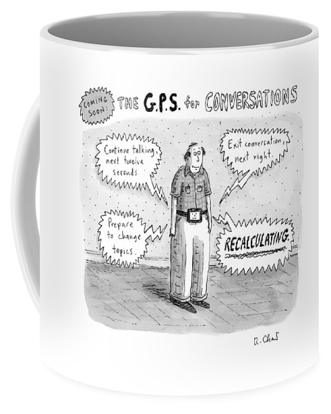 A Man Is Standing Listening To A G.p.s. Voice Coffee Mug