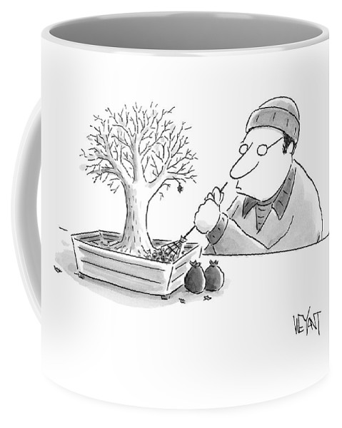 A Man Rakes Leaves In A Tiny Bonsai Tree Coffee Mug For Sale By Christopher Weyant