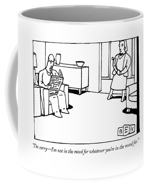 Marriages Coffee Mug featuring the drawing A Man Reading The Newspaper In His Living Room by Bruce Eric Kaplan