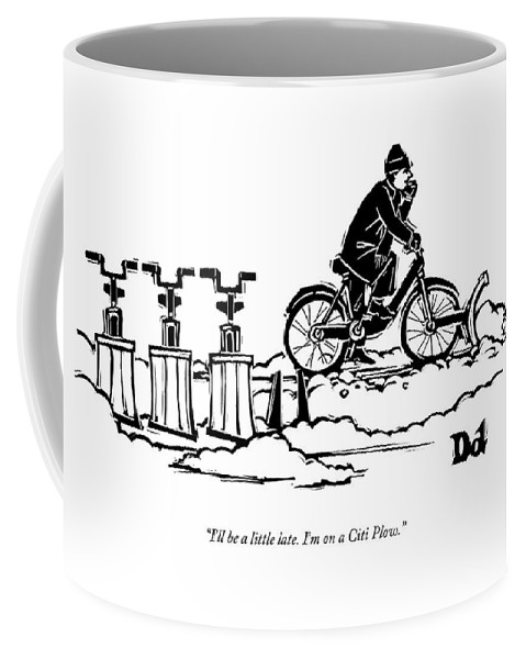 A Man Rides A Bicycle With A Snow Plow Attached Coffee Mug