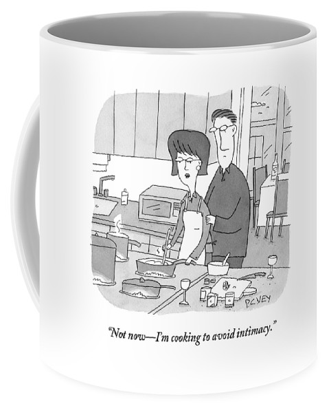 Sex Coffee Mug featuring the drawing A Man Rubs The Back Of A Woman As She Prepares by Peter C. Vey