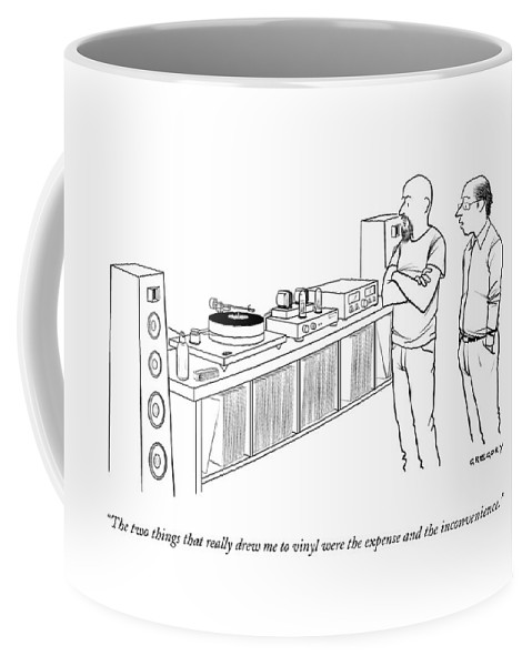 Records Coffee Mug featuring the drawing A Man Shows Another Man His Extensive Collection by Alex Gregory