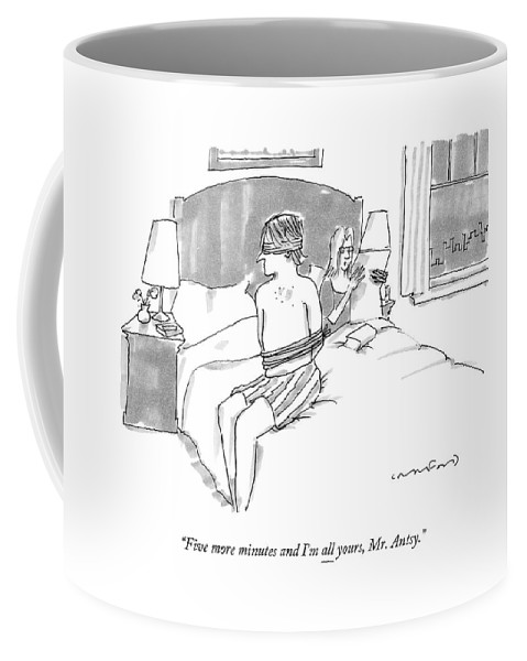 A Man Sits Tied Up In His Underwear On The Bed Coffee Mug for Sale by Michael  Crawford 419d690b1