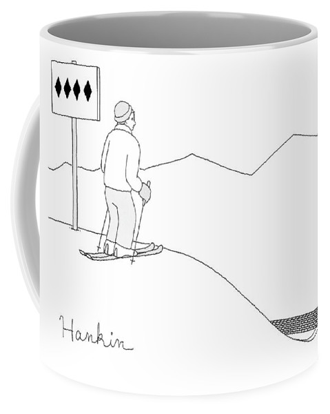Captionless Coffee Mug featuring the drawing A Man Stands At The Top Of A Ski Slope by Charlie Hankin