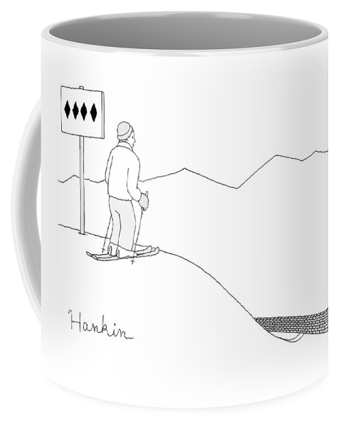 A Man Stands At The Top Of A Ski Slope Coffee Mug
