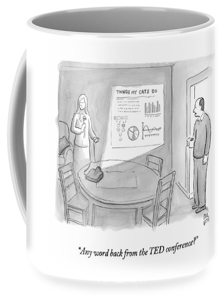 Power Point Coffee Mug featuring the drawing A Man Talks To A Woman Who Looks Irate And Seems by Paul Noth