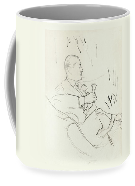 Illustration Coffee Mug featuring the digital art A Man With A Glass Of Wine by Carl Oscar August Erickson
