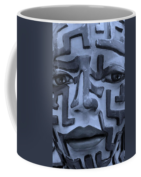 Maze Coffee Mug featuring the photograph A Maze Ing Face 1 Cyan by Rob Hans
