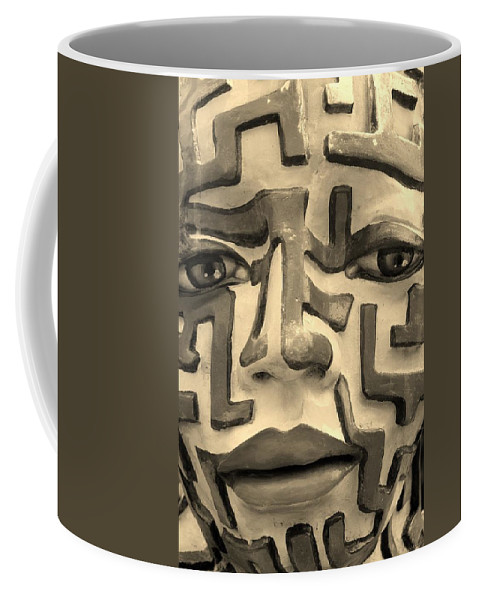 Maze Coffee Mug featuring the photograph A Maze Ing Face 1 Sepia by Rob Hans