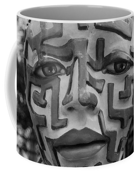 Maze Coffee Mug featuring the photograph A Maze Ing Face Black And White by Rob Hans