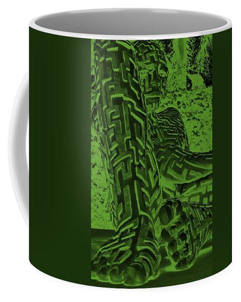 Maze Coffee Mug featuring the digital art A Mazing Negative Olive Green Man by Rob Hans