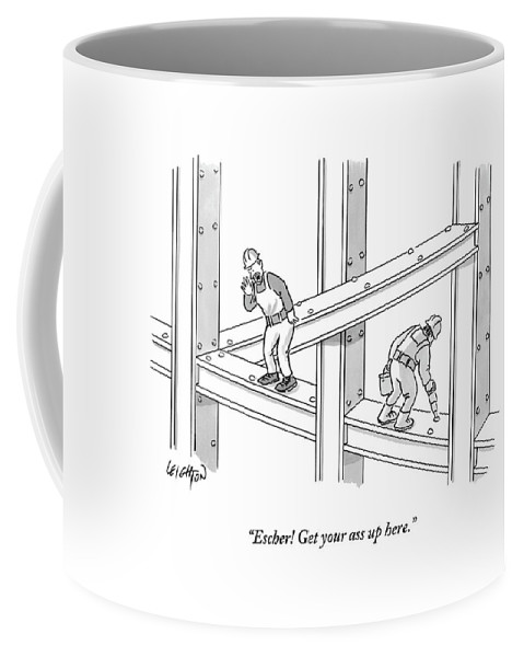 Construction Coffee Mug featuring the drawing A Men Works On The Sky Scraper Beams by Robert Leighton
