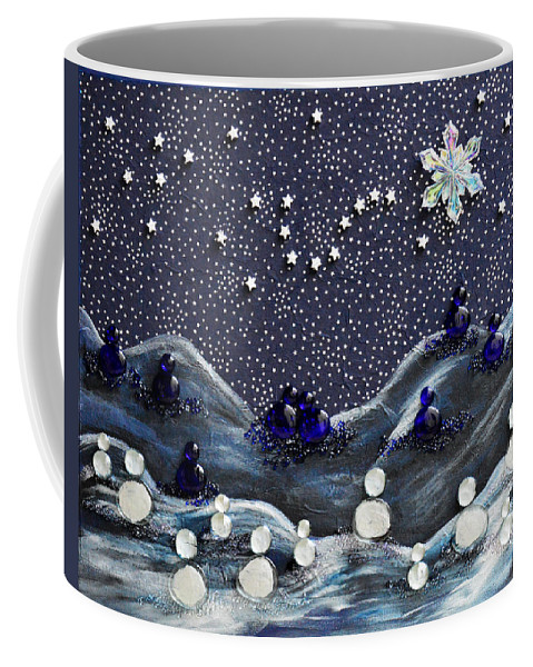 Snow Coffee Mug featuring the mixed media A Midnight Clear by Donna Blackhall