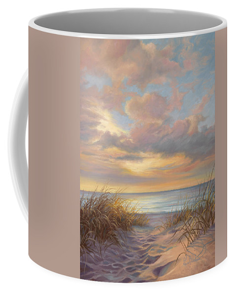 Beach Coffee Mug featuring the painting A Moment Of Tranquility by Lucie Bilodeau