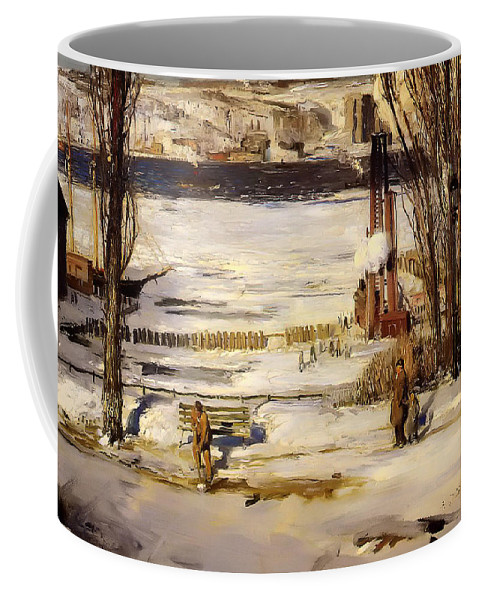 Hudson River Coffee Mug featuring the painting A Morning Snow On The Hudson River by Mountain Dreams